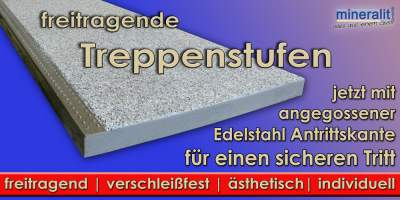 mineralit treppenstufen freitragend dauerbest ndig wetterfest. Black Bedroom Furniture Sets. Home Design Ideas